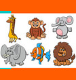 set cartoon funny animal characters vector image vector image