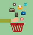 shopping basket with electronic commerce icons vector image