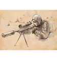 Sniper Shooter - Hand drawn vector image