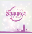 summer banner with lighthouse and palm trees vector image vector image