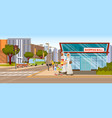 the concept shopping mall downtown on the road vector image vector image