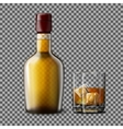 Transparent realistic bottle and glass with vector image vector image