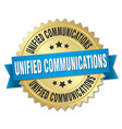 unified communications round isolated gold badge vector image vector image