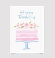 watercolor cake happy birthday card template vector image