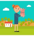 Woman Holds Pig in Hand Country Farm on Background vector image vector image