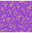Yellow carnival symbols in doodle style on violet vector image vector image