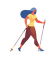 young woman hiking with walking poles exersising vector image vector image