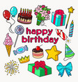 happy birthday party decoration set vector image