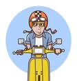 Man with orange helmet riding a yellow scooter vector image