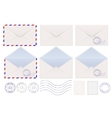 Set of envelopes Blank stamped airmail vector image