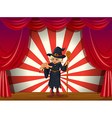 A scary witch holding a stick at the stage vector image vector image