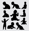 baby activity silhouette vector image vector image