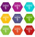 badminton icons set 9 vector image vector image