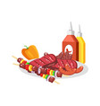barbecue food on white plate vector image vector image