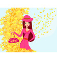 beautiful girl in autumn background vector image vector image
