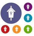 birdhouse icons set vector image vector image