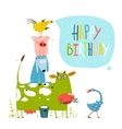 Birthday Fun Cartoon Farm Animals Pyramid Greeting vector image vector image