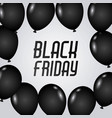 black friday poster with dark shiny balloons vector image vector image