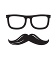 black glasses and mustaches vector image