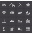 black mining icons set vector image