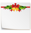 blank paper with christmas bells vector image vector image