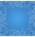 Blue background with floral ornament vector image