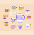 break or teatime with teapot and cups vector image vector image
