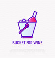 bucket for wine bottle thin line icon vector image vector image