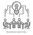 Business meeting line icons vector image