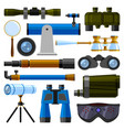 camera lens and binoculars glass spypyglass vector image vector image