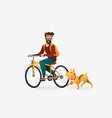 cartoon young man riding vector image