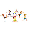 Children stretching vector image vector image