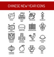 chinese new year outline icons vector image vector image