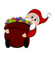 christmas santa claus holding a present bag vector image
