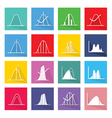 Collection of 16 Normal Distribution Curve Icons vector image vector image
