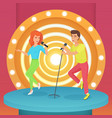 couple man and woman singing karaoke song with vector image