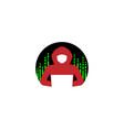 creative hidden hacker circle logo design i vector image