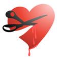 cut heart vector image vector image