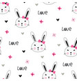 cute bunny girl seamless pattern vector image vector image