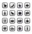 Different kind of fruit and vegetables icons vector image vector image