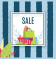 end season sale offer over striped backdrop vector image vector image