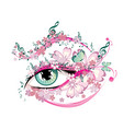 eye with floral and music notes vector image vector image