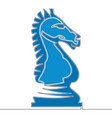 Flat continuous line horse knight chess concept