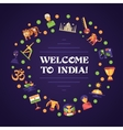 Flat design India travel banner with famous Indian vector image