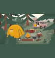 forest touristic camp with tent bonfire firewood vector image vector image