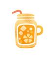 fresh orange juice detox water in glass with vector image vector image