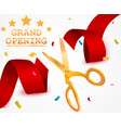 grand opening background with ribbon and confetti vector image vector image