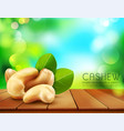 group of cashew nuts lying on a wooden table on vector image vector image
