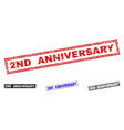 grunge 2nd anniversary textured rectangle vector image vector image