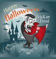 halloween vampire with a candy under the moon vector image